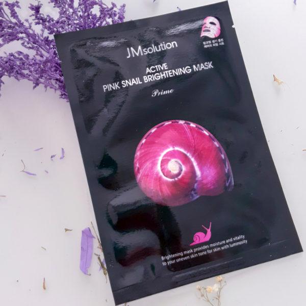 Тканинна маска з муцином равлики JMSolution Active Pink Snail Brightening Mask Prime